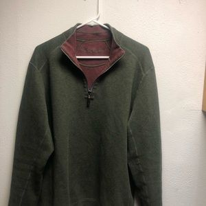 Tommy Bahama 1/4 zip men's large green sweater